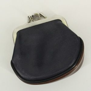 Vintage Mini Leather Kiss Lock Coin Purse